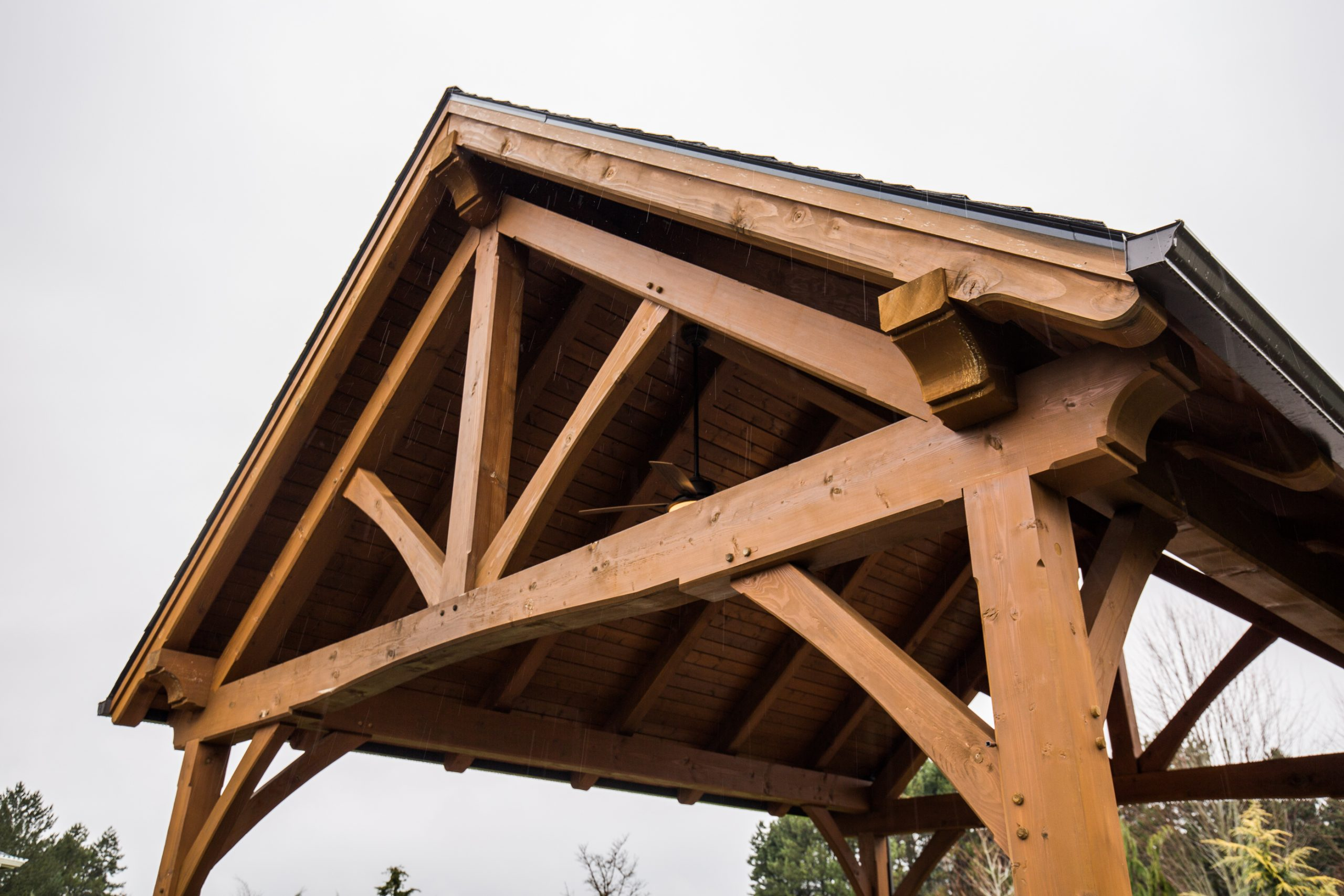 The Tramposh Timber Frame Pavilion in Boring, OR