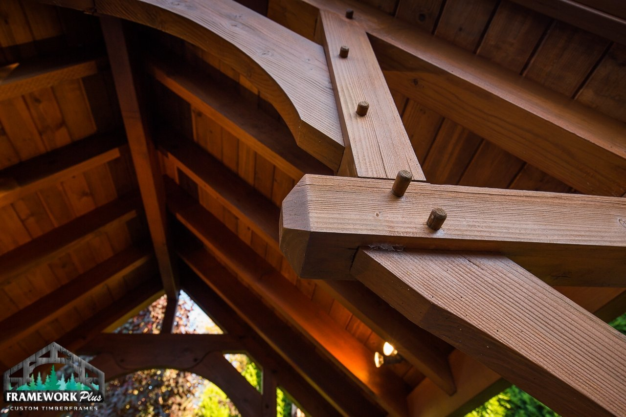 The Summit Timber Frame Pavilion Kit in Gresham, OR Truss and Hammer Beam Trusses Knee Brace View 4