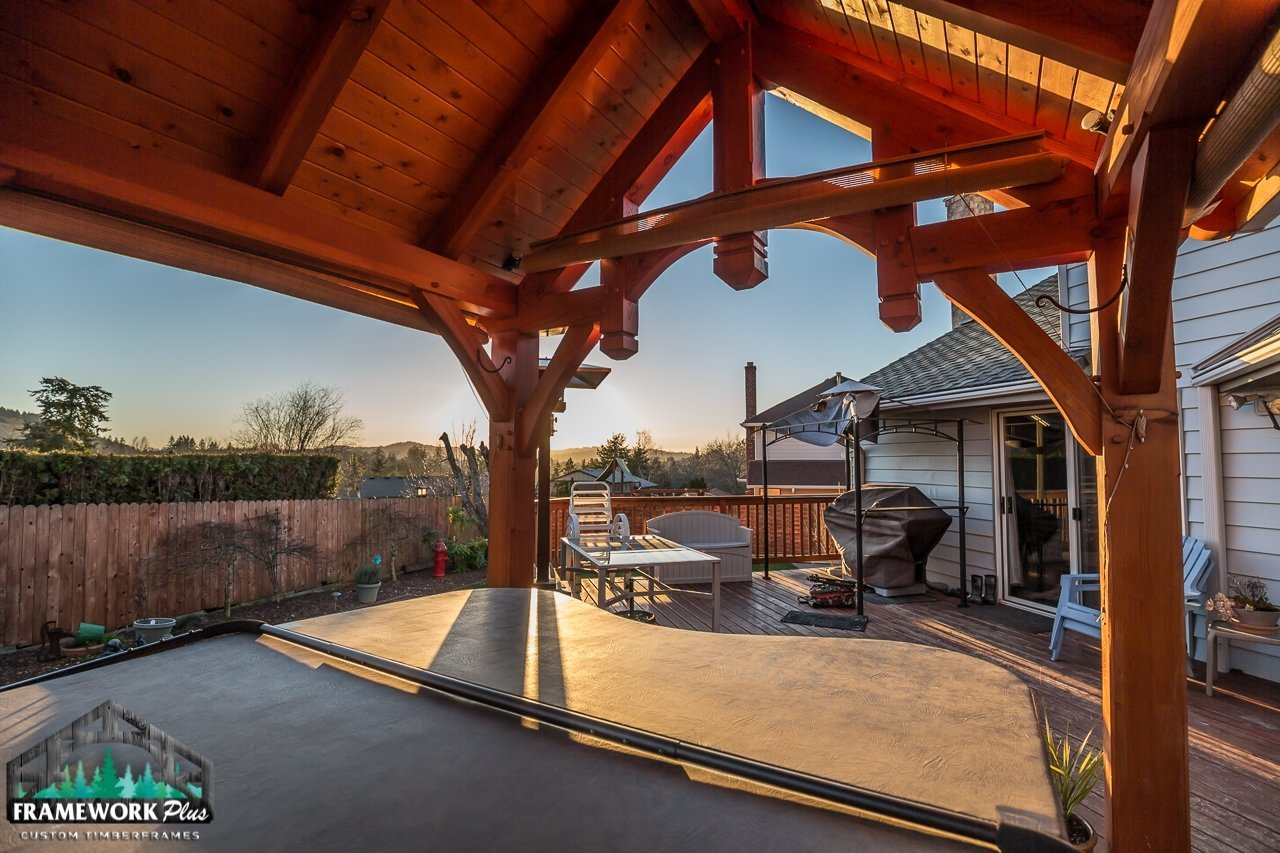The Summit Timber Frame Pavilion Kit in Gresham, OR Interior View