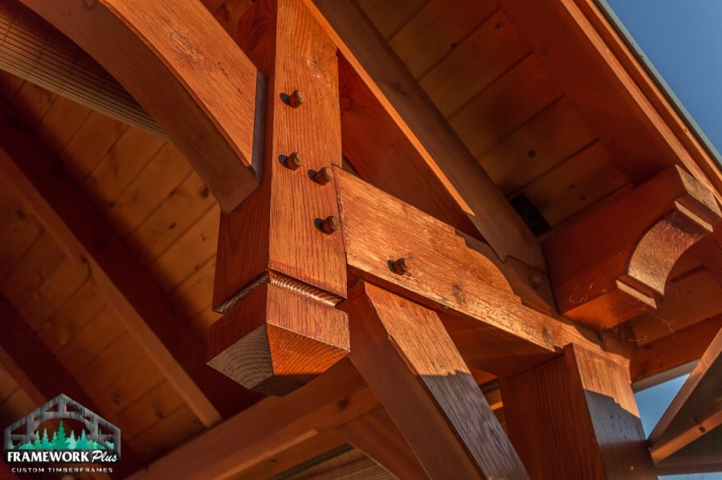The Summit Timber Frame Pavilion Kit in Gresham, OR Exterior Truss View