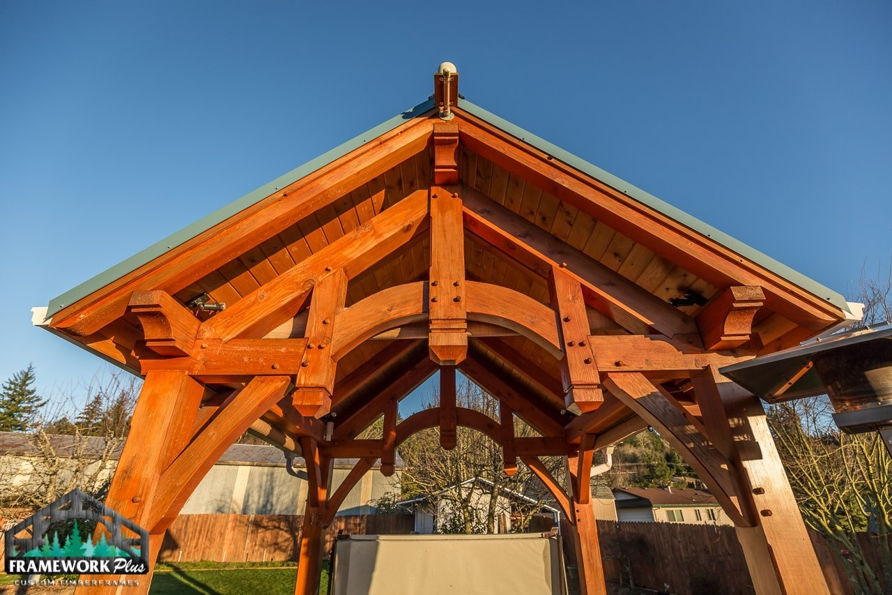 The Summit Timber Frame Pavilion Kit in Gresham, OR Truss and Hammer Beam Trusses Knee Brace View 3