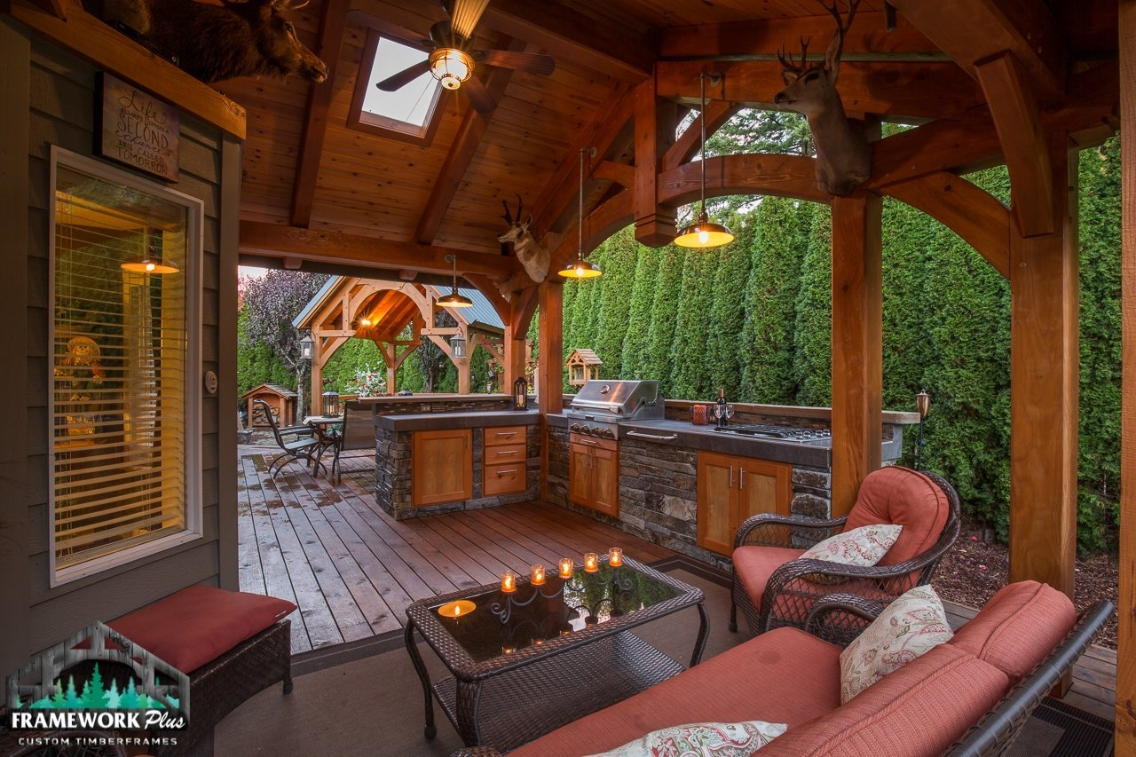 The Summit Timber Frame Pavilion Kit in Gresham, OR Interior View Home Add On