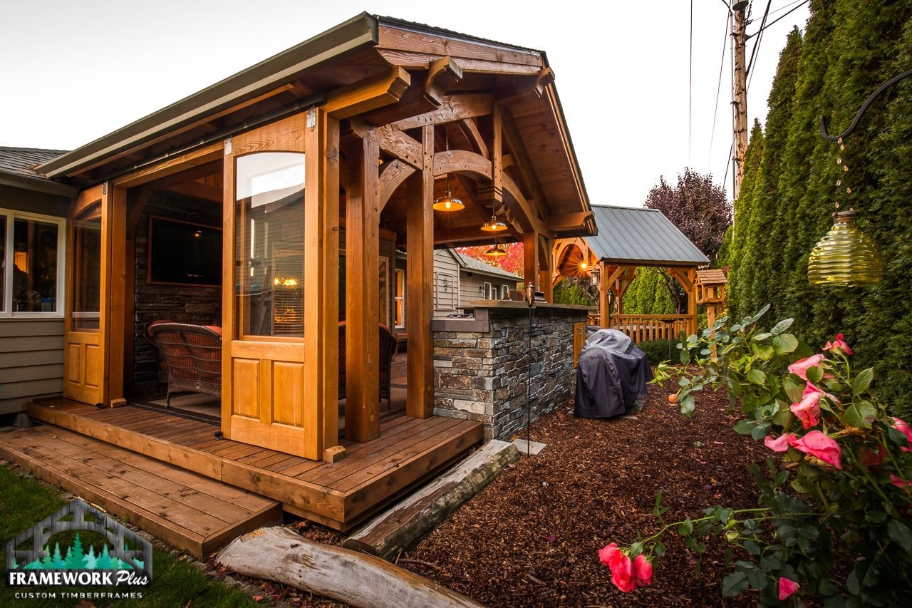 The Summit Timber Frame Pavilion Kit in Gresham, OR Exterior View Home Add On