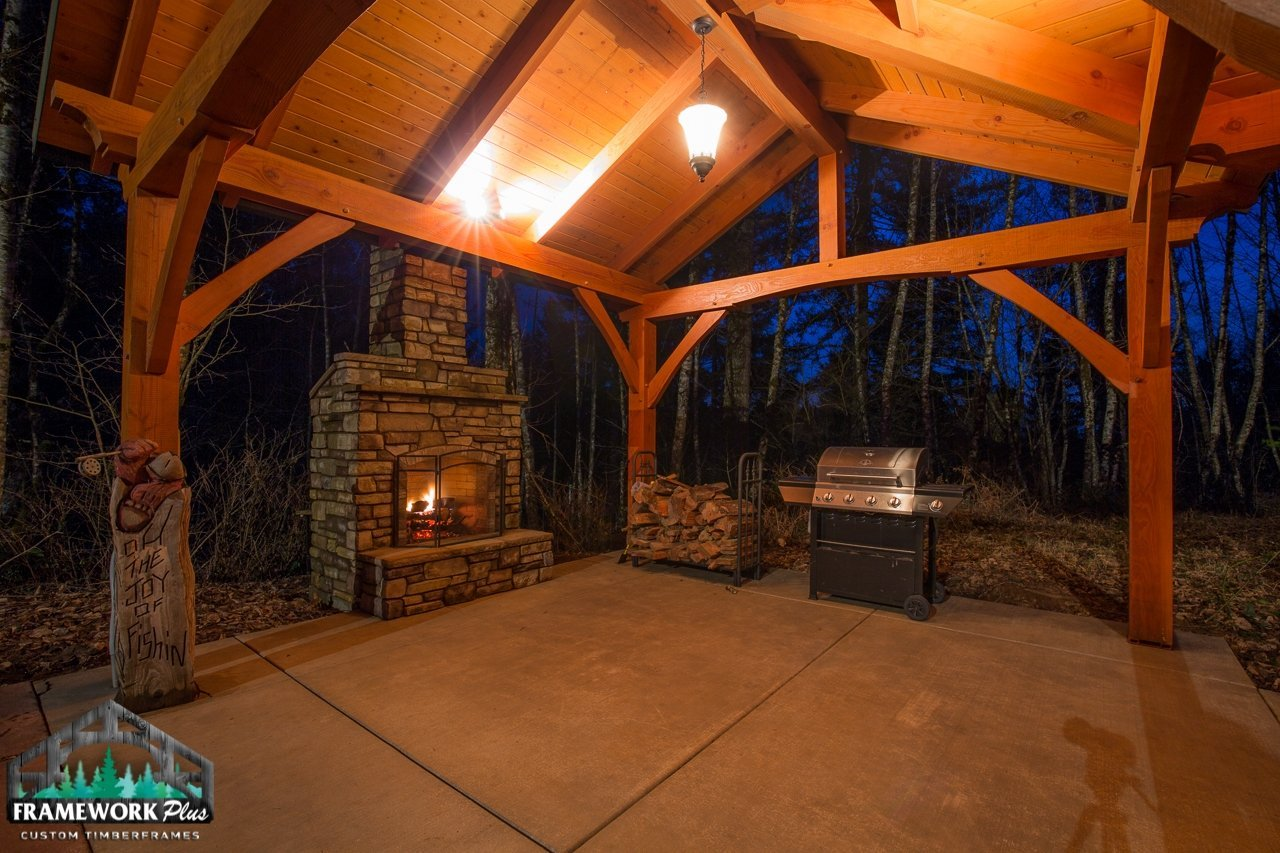 The Alpine Timber Frame Pavilion Kit in Brush Prairie, WA Inside View