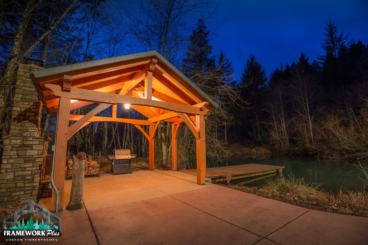 The Alpine Timber Frame Pavilion Kit in Brush Prairie, WA Full Outside View