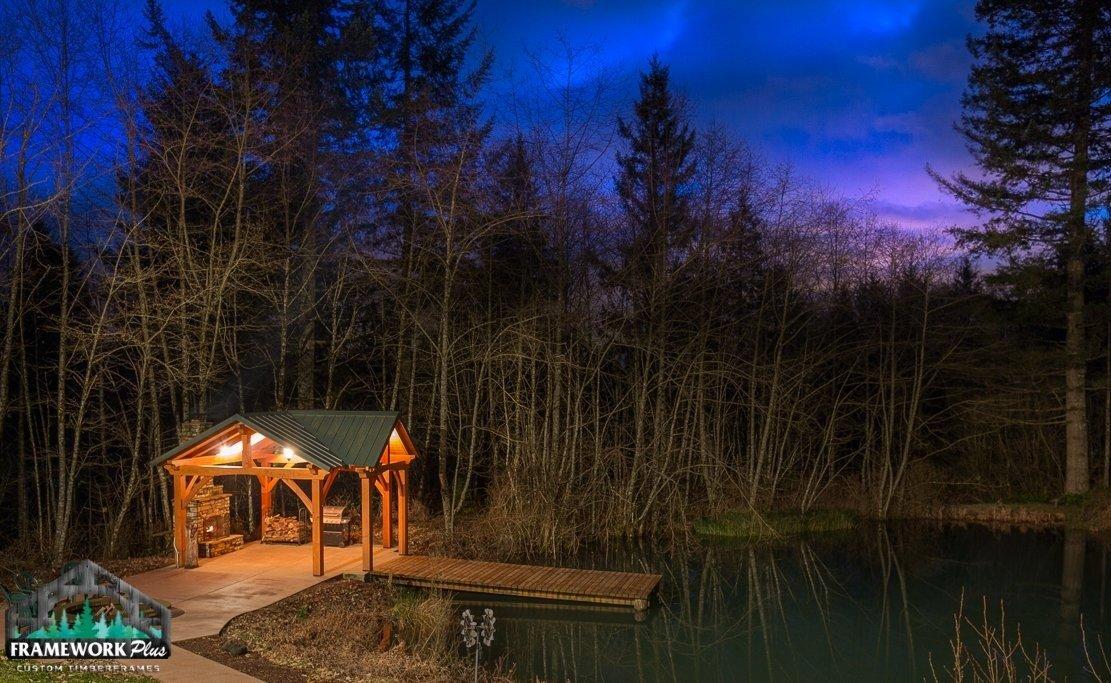 The Alpine Timber Frame Pavilion Kit in Brush Prairie, WA Dock View