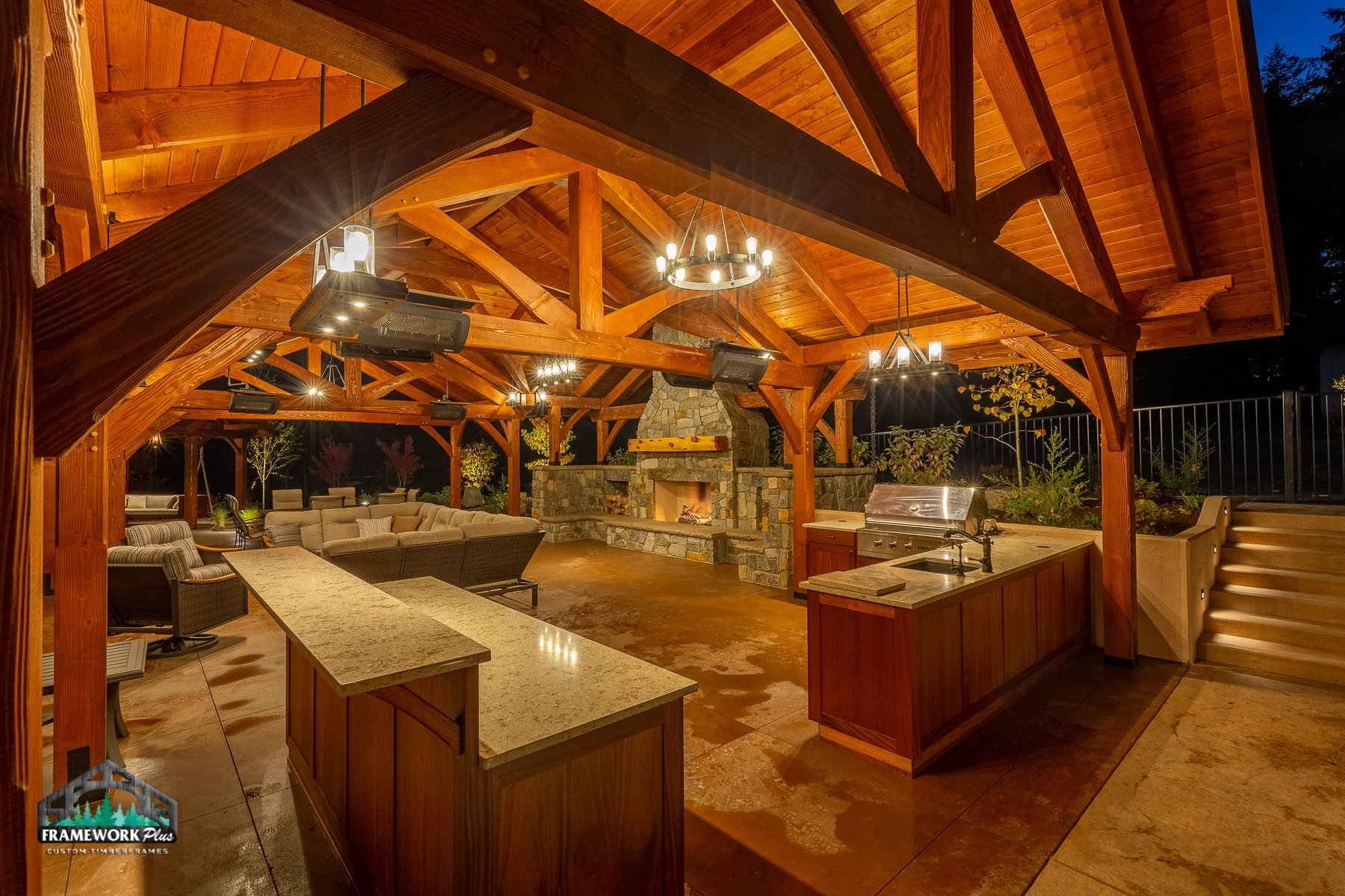 Timber Frame Pavilion Willamette Interior
