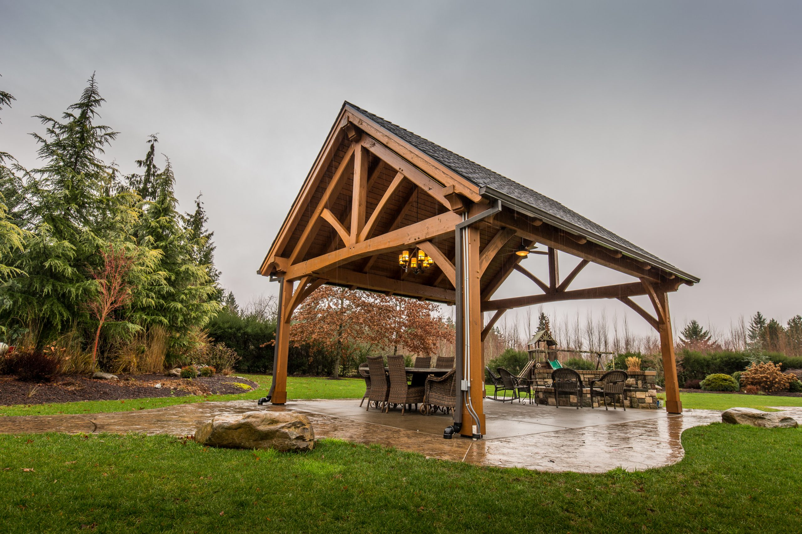 The Rainier Timber Frame Style Pavilion Kit in Boring, OR Outside_2