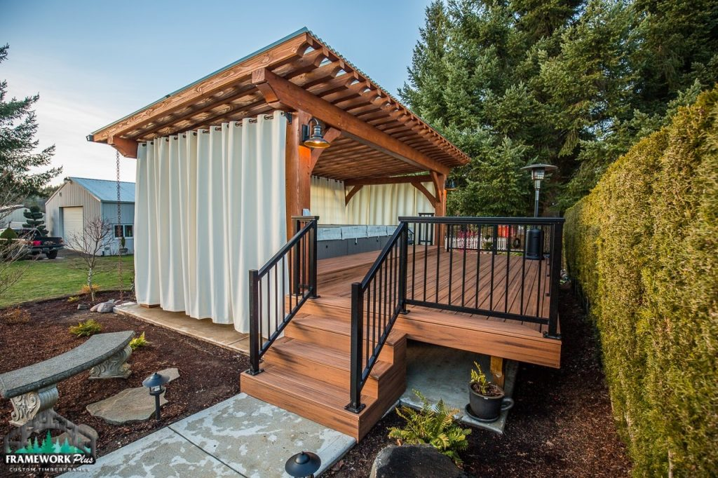 Timber Frame Pergola Kit Stairs and Pathway View