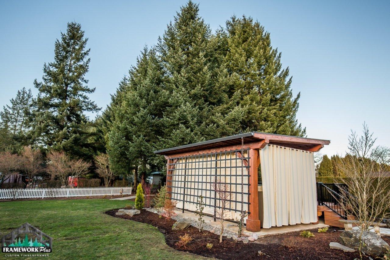 Timber Frame Pergola Kit Lawn View