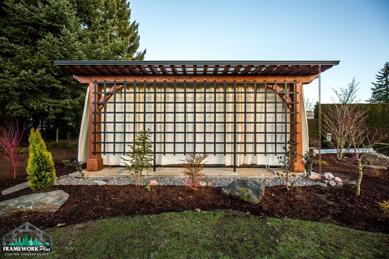 Timber Frame Pergola Kit Lawn View 3