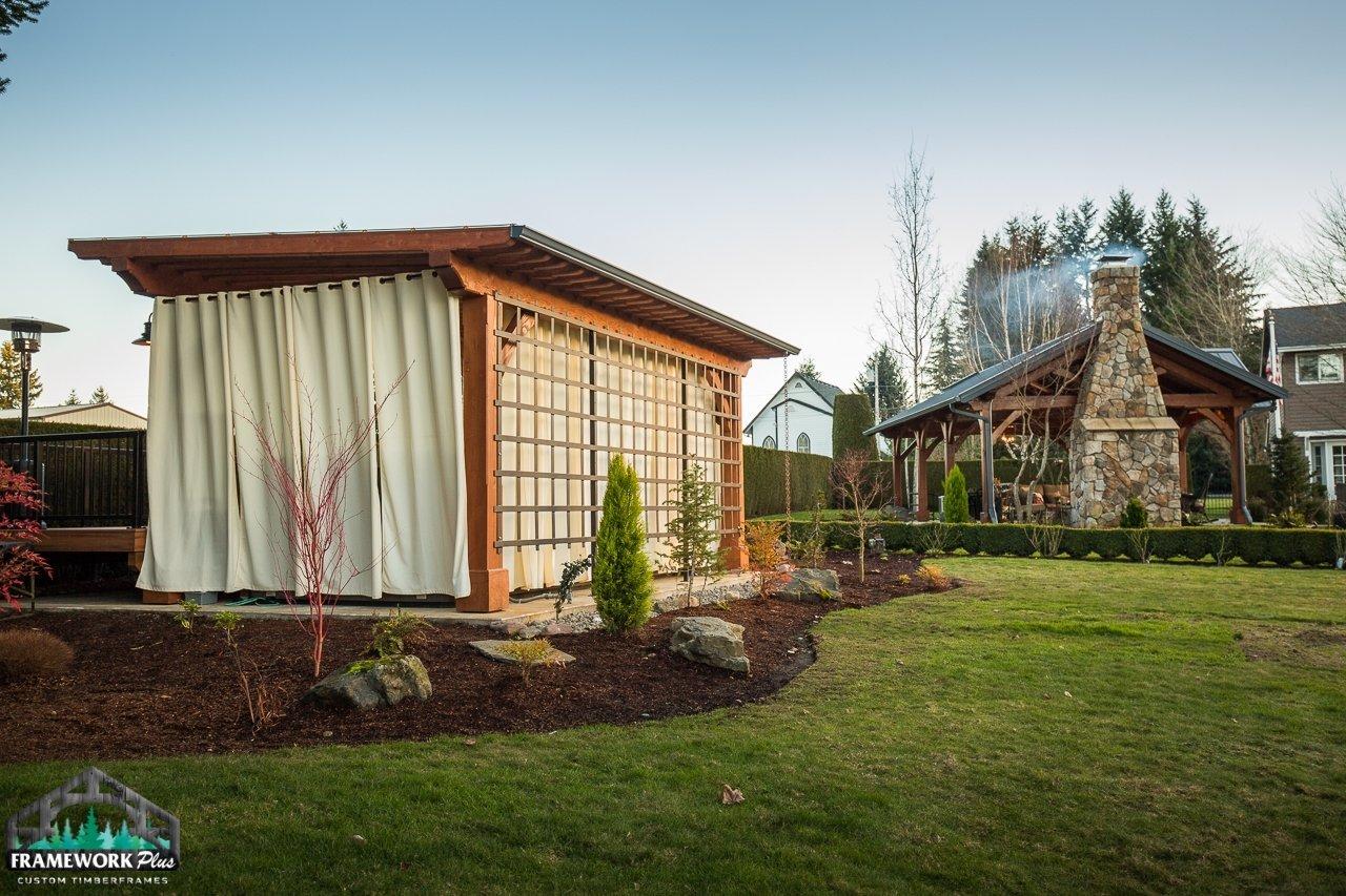 Timber Frame Pergola Kit Lawn View 4