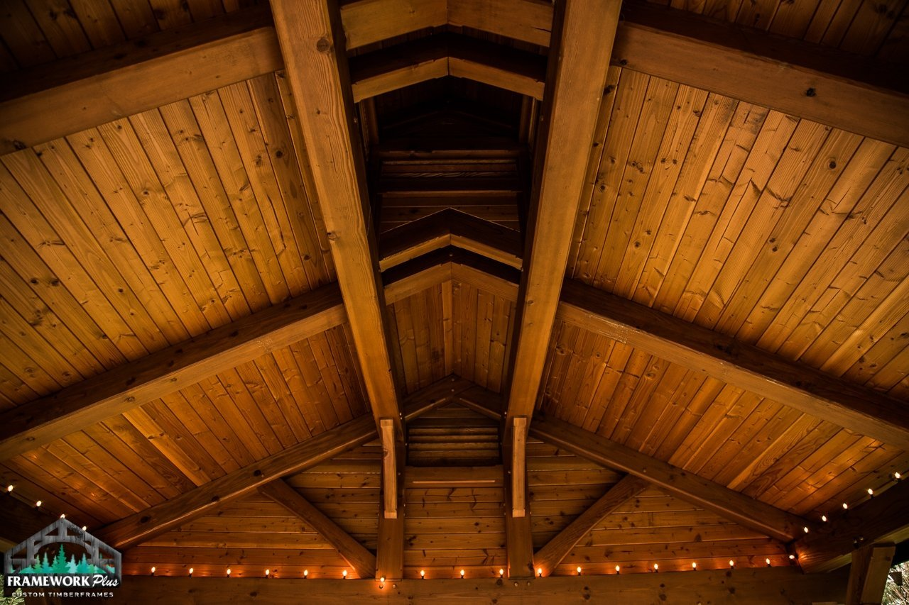 Timber Frame Patio Cover Inside Roof View