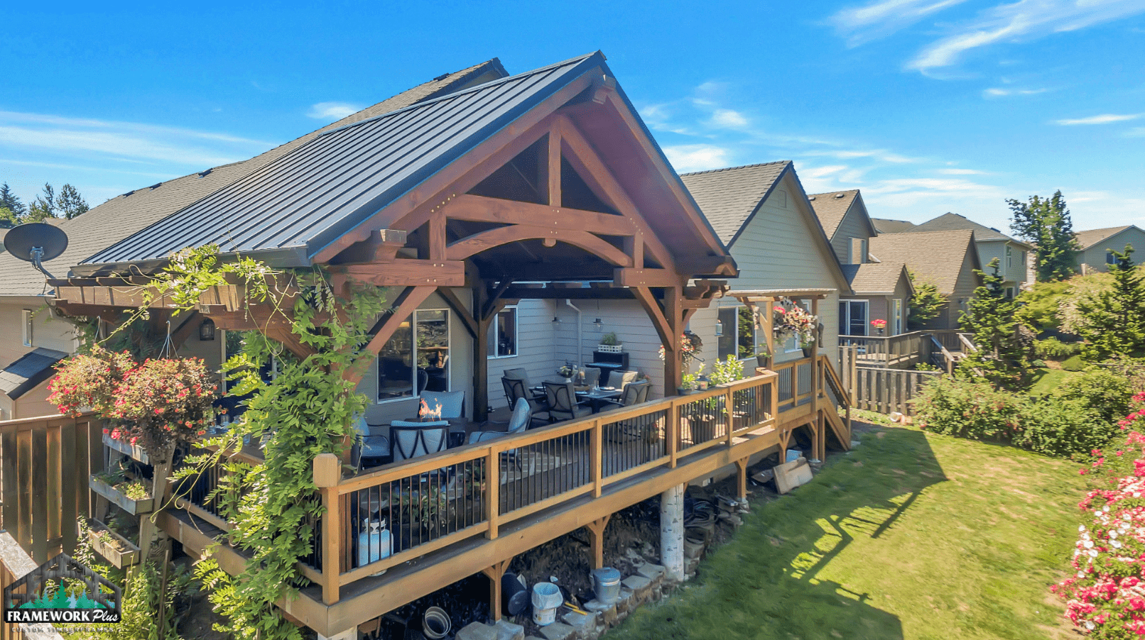 Timber Frame Patio Cover Outside View 5