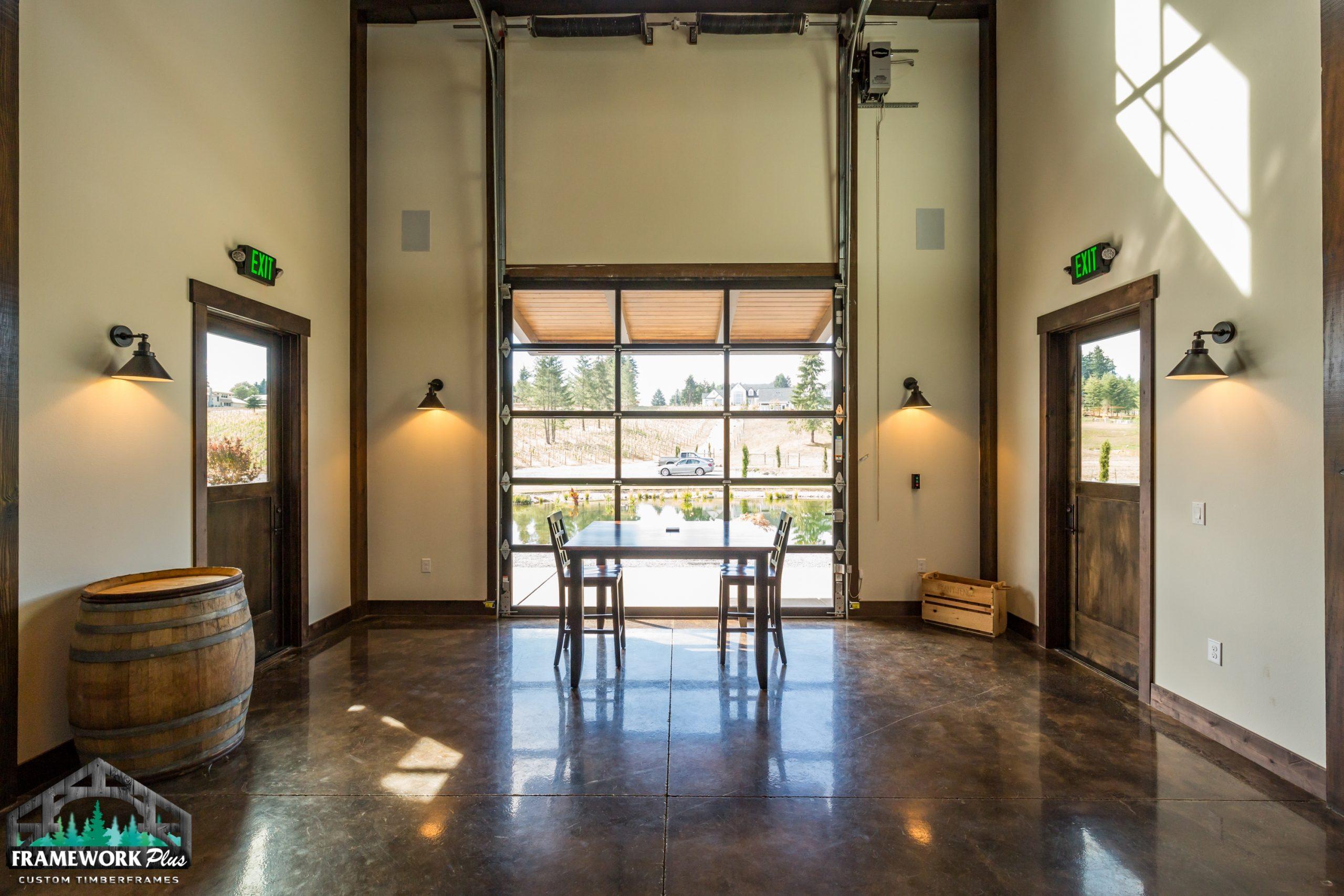 Barrel House Interior With Garage Door