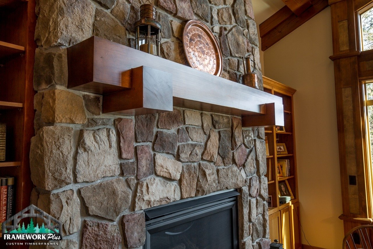Mantel inside a home over fireplace side view