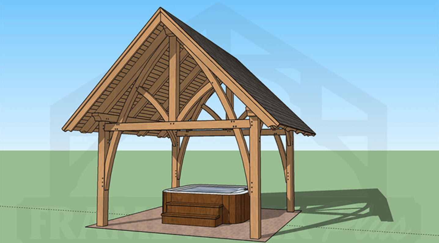 Columbia Timber Frame Rendering with Hot Tub 1