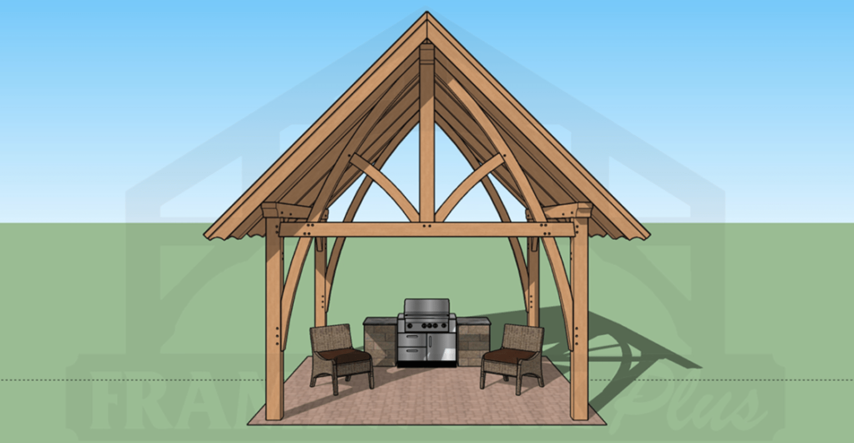 Columbia Timber Frame Rendering with BBQ 1