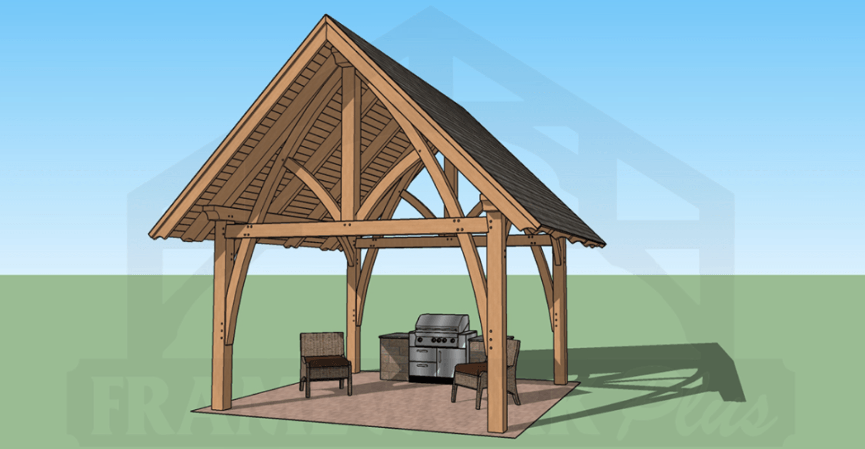 Columbia Timber Frame Rendering with BBQ 2