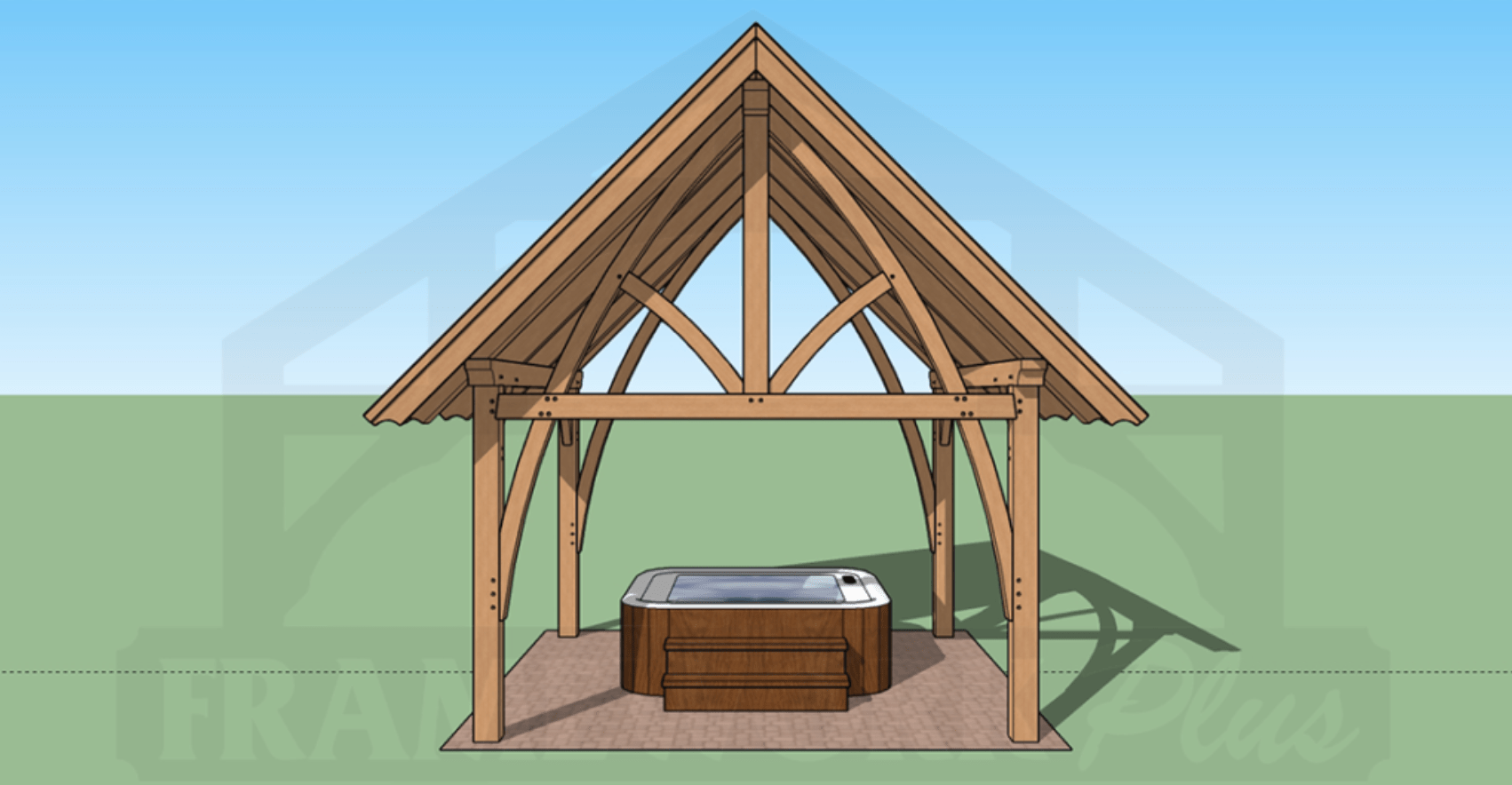 Columbia Timber Frame Rendering with Hot Tub 2