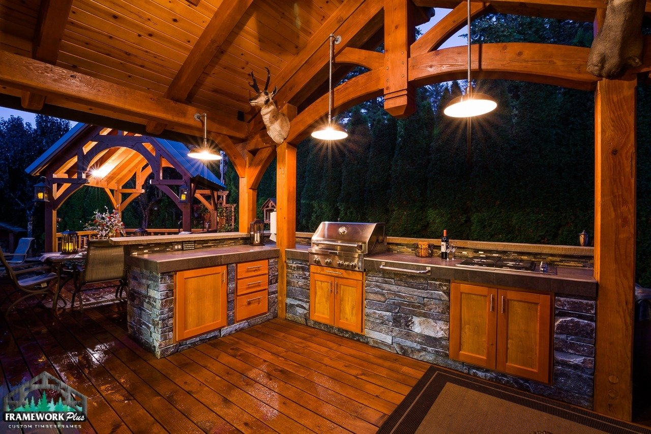 Gresham, OR Patio Cover Interior At Night