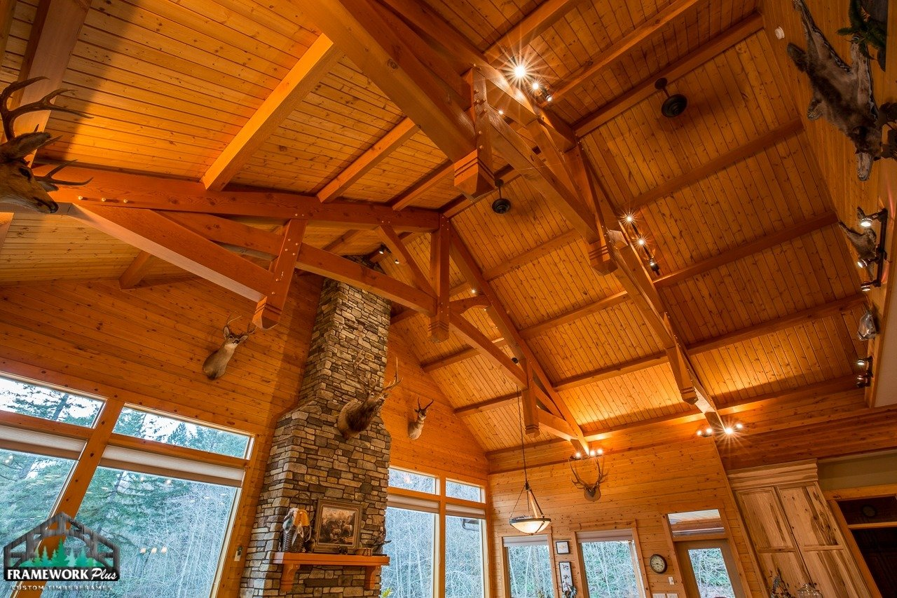 Brush Prairie, WA Hybrid Home Mantel, Trusses, and Ceiling