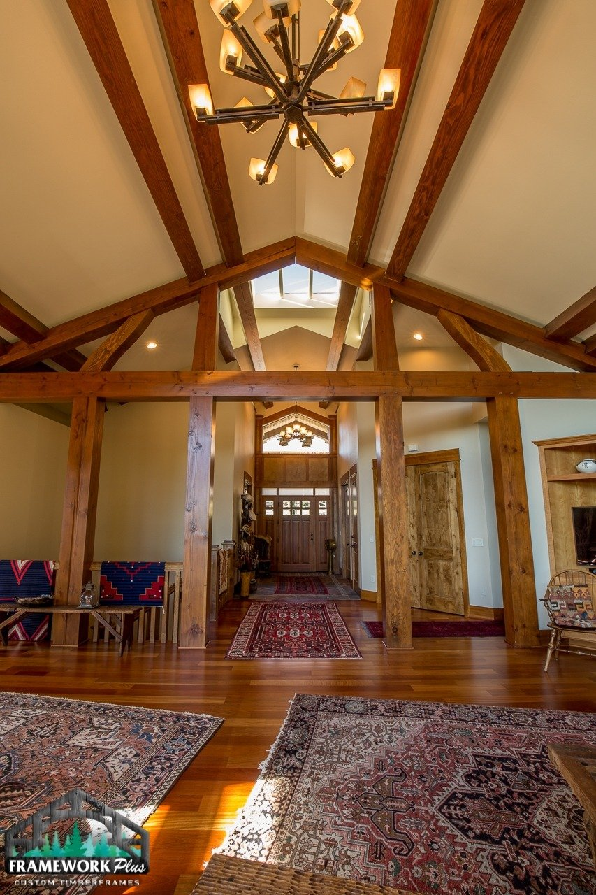 Gresham, OR Hybrid Home Entry Hallway with Truss and Chandelier