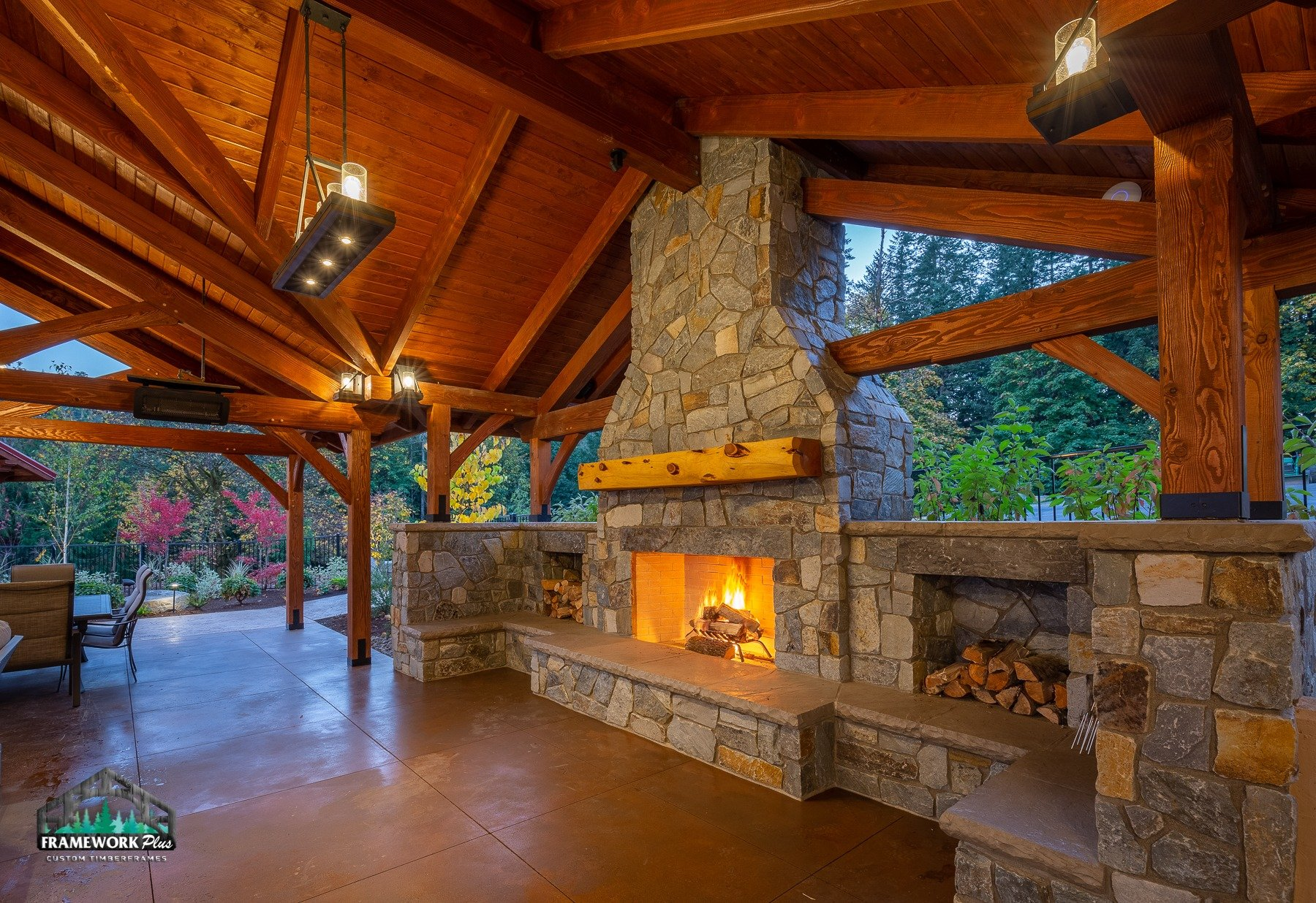 Willamette Valley, OR Pavilion Interior Truss and Fireplace