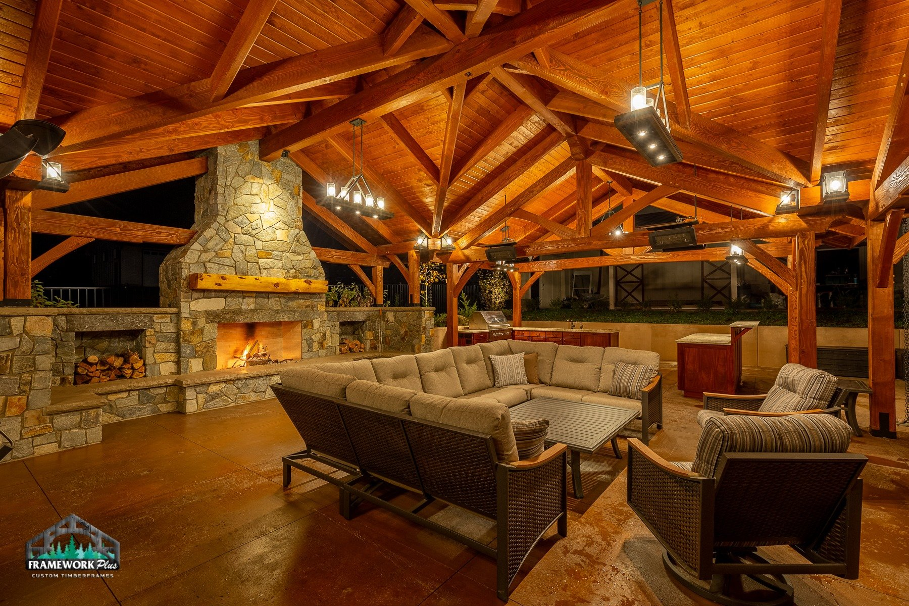 Willamette Valley, OR Pavilion Interior Truss and Fireplace View