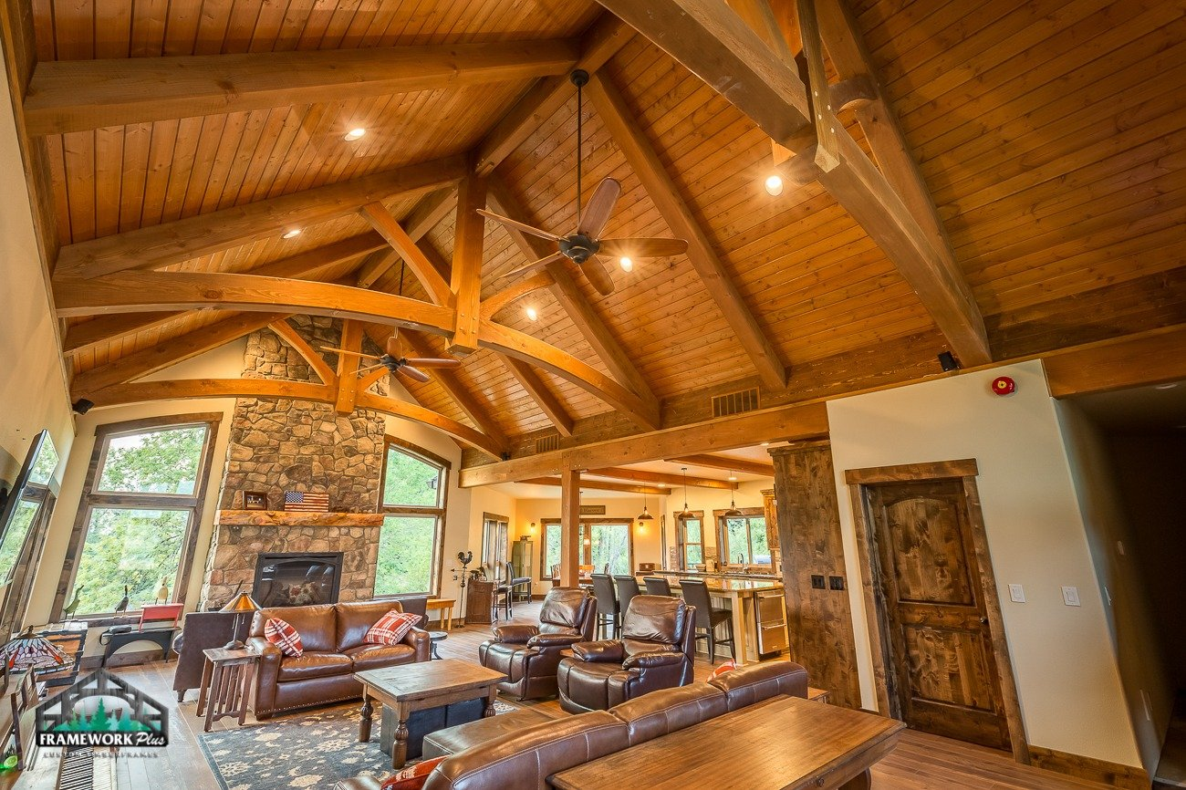 Canby, OR Hybrid House Interior with Mantel, Beams, and Truss Right