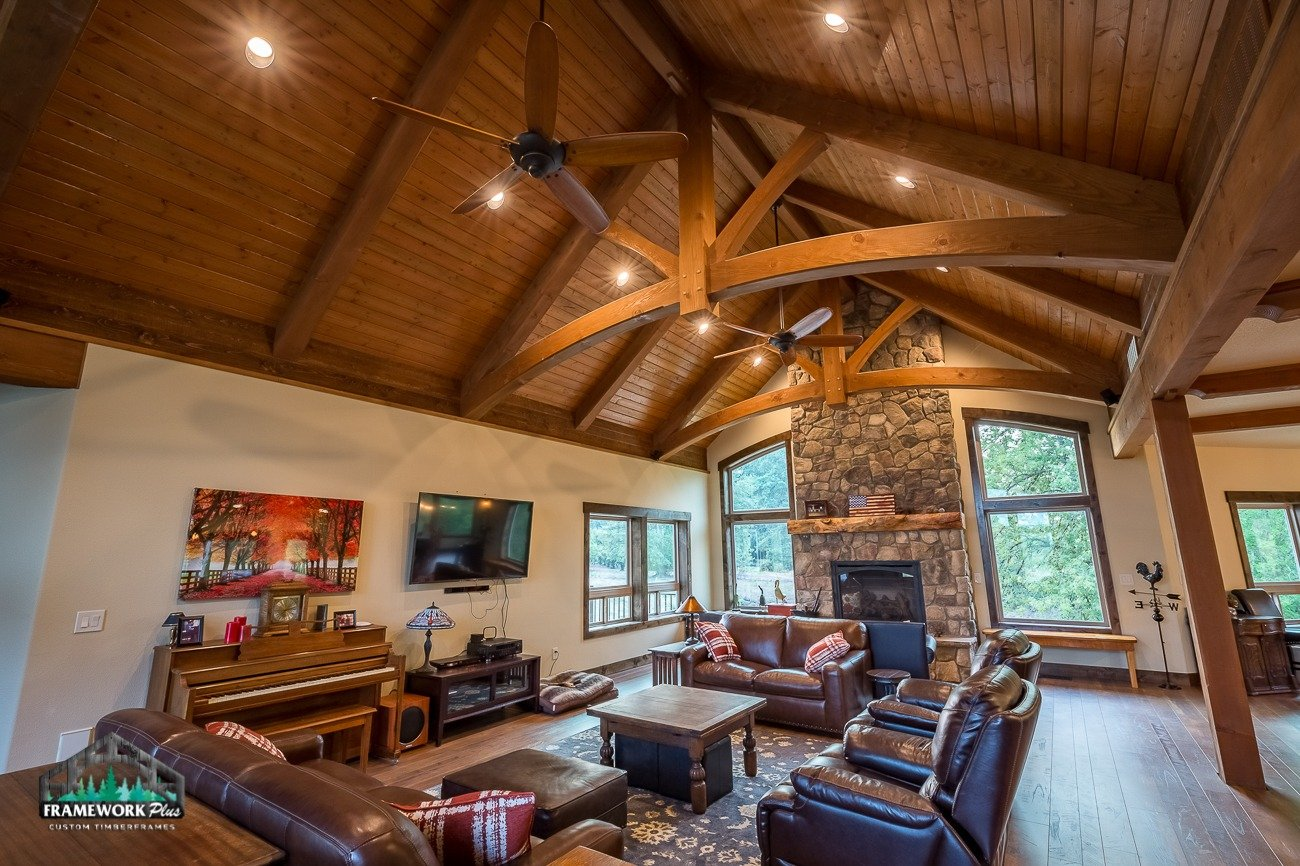 Canby, OR Hybrid House Interior with Mantel Right