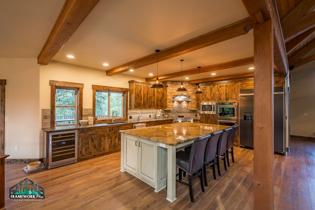 Canby, OR Hybrid House Interior Kitchen with Beams Left
