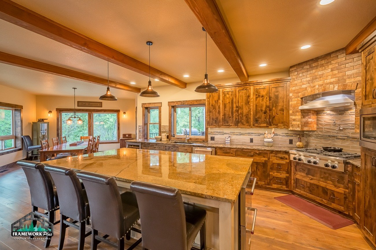 Canby, OR Hybrid House Interior Kitchen with Beams Right