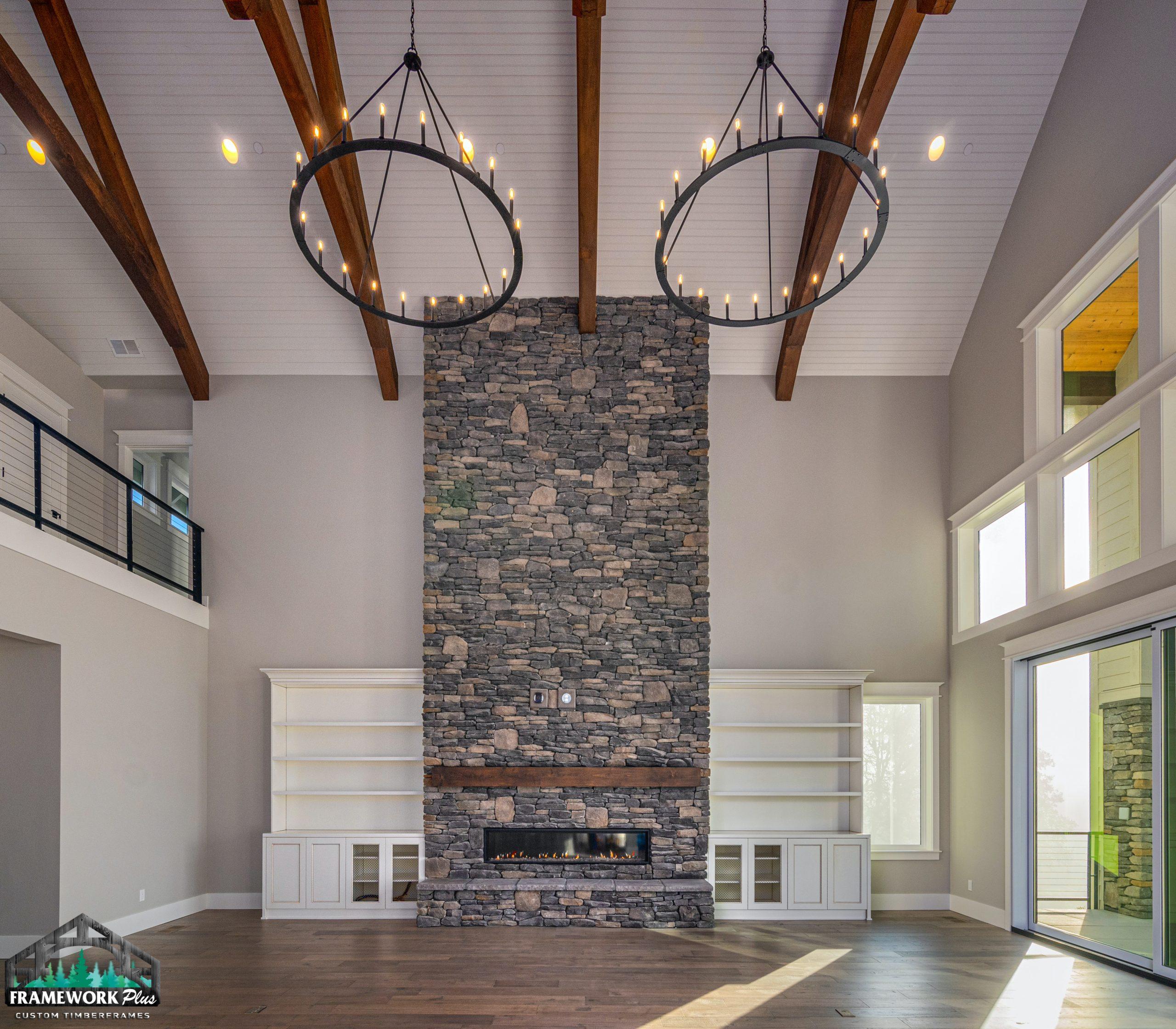 Clark Hill Estate Interior Truss and Fireplace
